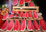 red water melon slices on sell at open air market - 163486169