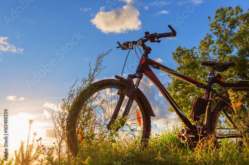 Bike by the river in the setting sun. Siberia, Russia