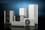 Air heat pump collection - dark background - 163501179