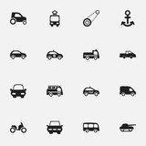 Set Of 16 Editable Transport Icons. Includes Symbols Such As City Drive, Shipping, Sheriff And More. Can Be Used For Web, Mobile, UI And Infographic Design.