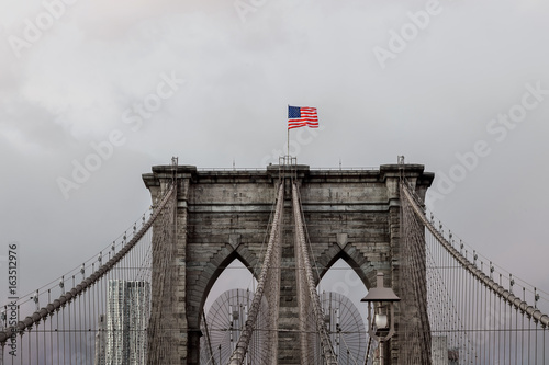 American flag Brooklyn Bridge in New York Poster