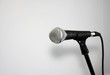 Microphone background on stand  white background with copy space and lead