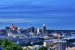 Skyline view of Cincinnati, Ohio and Covington, Kentucky sit on either side of the Ohio River