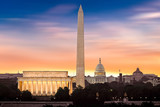 Dawn over Washington - with 3 iconic monuments illuminated at sunrise: Lincoln Memorial, Washington Monument and the Capitol Building. - 163515990