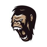 gorilla big foot monkey animal wild mascot sport logo illustration vector
