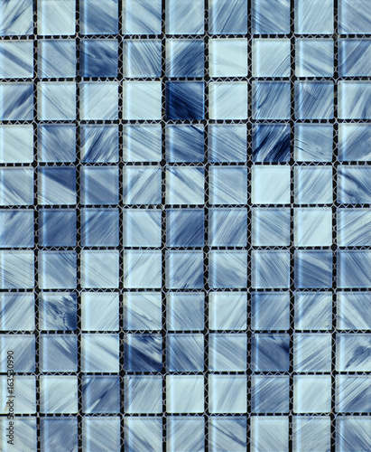 Fototapeta Texture of blue glossy mosaic tile