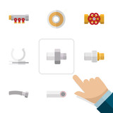 Flat Icon Industry Set Of Pump Valve, Pipework, Roll And Other Vector Objects. Also Includes Pipework, Roll, Valve Elements. - 163534359