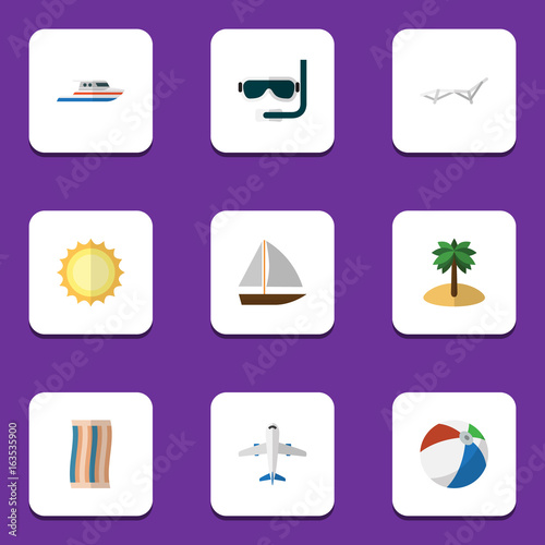 Poster Snoeien Flat Icon Season Set Of Boat, Deck Chair, Yacht And Other Vector Objects. Also Includes Aircraft, Sunshine, Sun Elements.