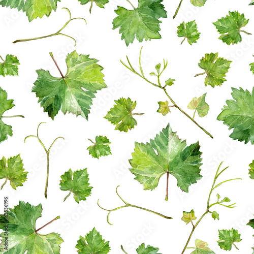 seamless texture of grape leaves, watercolor sketch © Tеtiana