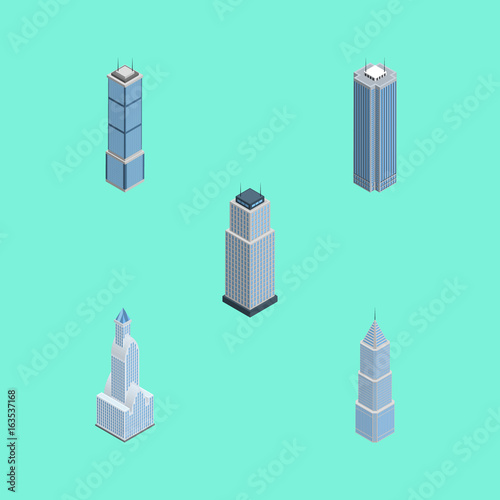 Tuinposter Groene koraal Isometric Skyscraper Set Of Exterior, Cityscape, Skyscraper And Other Vector Objects. Also Includes Tower, Building, Business Elements.