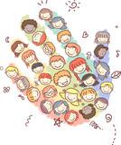 Stickman Kids Heads Hand Illustration