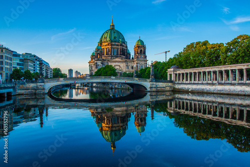 Berlin Cathedral (Berliner Dom) reflected in Spree River at dawn, Germany Poster