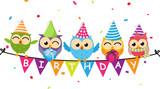 Happy birthday card with owl and bunting flag - 163553906
