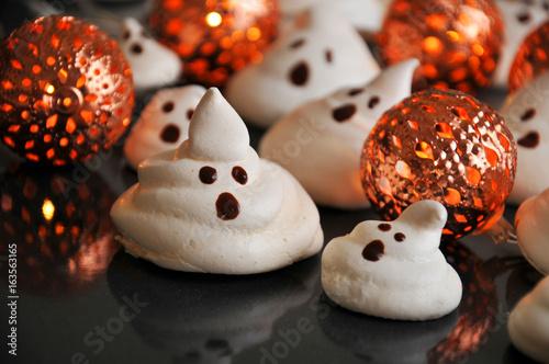 Halloween meringue ghost cake - fun dessert idea for kids Poster