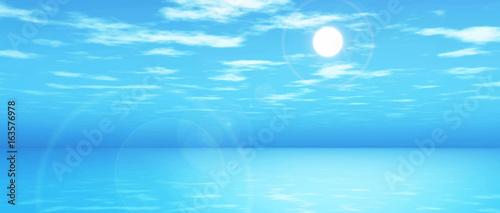Foto op Plexiglas Pool 3D widescreen ocean landscape