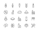 Set of Minimal Vape Vaping Culture Vector Line Icons. Perfect Pixel. Thin Stroke. 48x48. - 163579354