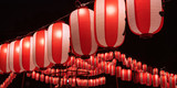 Illuminated Japanese red festival lanterns 夏祭りの提灯 - 163579505