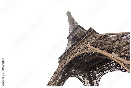Canvas Eiffeltoren Eiffel tower isolated on white background in Paris, picture for the ideas of designers
