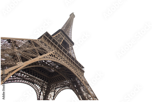 Fotobehang Eiffeltoren Eiffel tower isolated on white background in Paris, picture for the ideas of designers