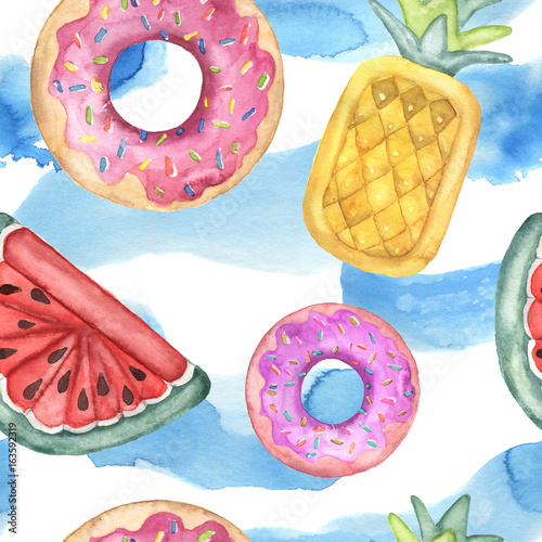 Materiał do szycia Watercolor seamless pattern with pool floats. Hand painted air toy and water isolated on white background. Donut, pineapple and watermelon toys. Vacation illustration. For design, print or background.