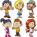 Happy cartoon kids. Vector clip art illustration with simple gradients. Each on a separate layer. - 163593302