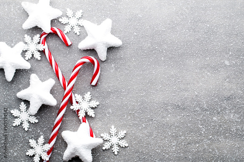 Candy cane. Christmas decors with gray background. - 163594542