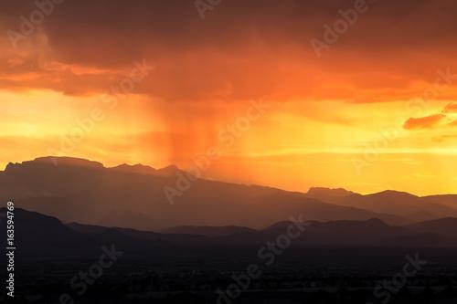 Moonsoon Over Western Arizona Sunset