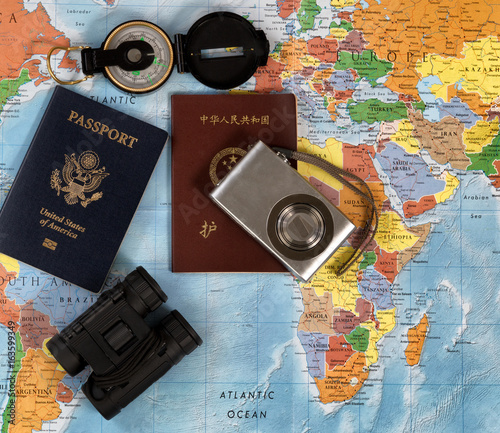 National passports with other travel items