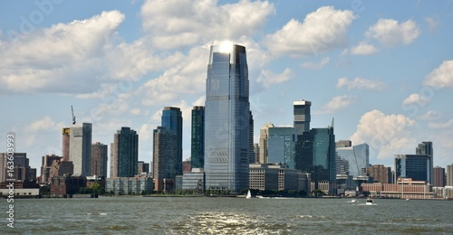 The Goldman Sachs Tower and the skyline of Jersey City.