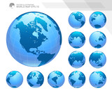 Globes showing earth with all continents. Digital world globe vector. Dotted world map vector. - 163605313