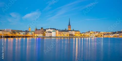 Night view of Stockholm city skyline in Sweden