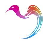 multicolored geometric triangular style origami bird logo element isolated on white background