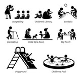Fototapety Children Recreational Facilities and Activities. Pictogram depicts children storytelling, kids library, playing at sandpits, ice skating, child care room, toy room, playground, and small pool.