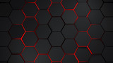 grey and red hexagons modern background illustration - 163615394