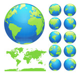 Globes showing earth with all continents. Digital world globe vector. Dotted world map vector. - 163616307