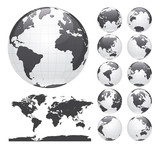 Globes showing earth with all continents. Digital world globe vector. Dotted world map vector. - 163616324