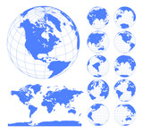Globes showing earth with all continents. Digital world globe vector. Dotted world map vector. - 163616351
