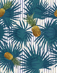 Tropical seamless pattern with pineapples, exotic palm leaves on striped background.