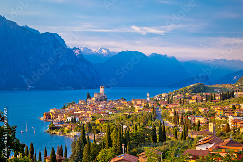 Leinwanddruck Bild Town of Malcesine on Lago di Garda skyline view