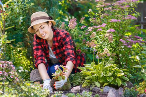 Poster woman gardener planting flowers