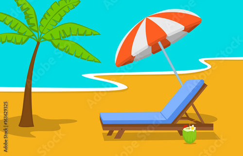 Fotobehang Turkoois summer beach time vacation background with umbrella, sun lounge chair and palm tree at seaside
