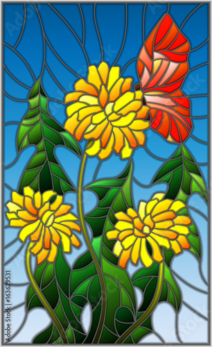 illustration-in-stained-glass-style-flower-of-taraxacum-and-butterfly-on-a-blue-background