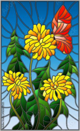 ilustracja-w-witrazu-stylu-kwiat-taraxacum-i-motyl-na-blekicie