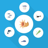 Flat Icon Sea Set Of Cachalot, Fish, Playful Fish And Other Vector Objects. Also Includes Whale, Jellyfish, Dolphin Elements. - 163632985