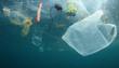 Leinwandbild Motiv Plastic carrier bags and other garbage pollution in ocean