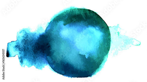 Vector and watercolor blue abstract background texture - 163634507