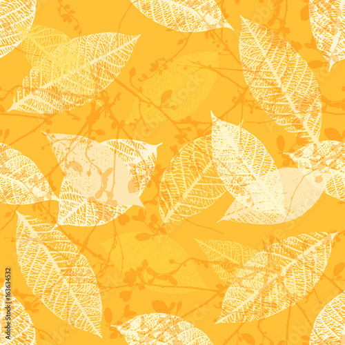 Yellow seamless pattern of vector skeleton leaves and branches