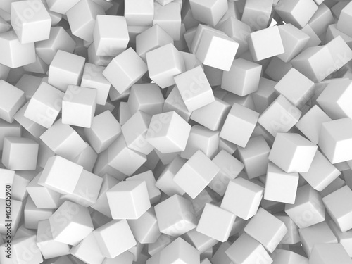 Abstract White Cubes Chaotic Background