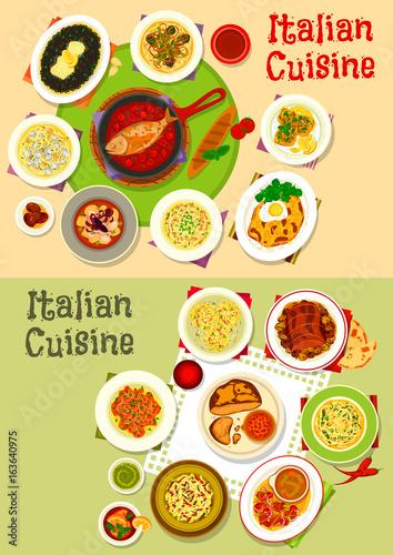 Italian cuisine tasty lunch dishes icon set design
