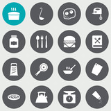 Set Of 16 Culinary Icons Set.Collection Of Pepperoni, Saltshaker, Weighing Machine And Other Elements. - 163641179